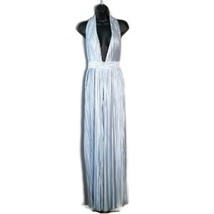NWOT SATIN PLEATED WIDE-LEG OPEN FRONT ROM…